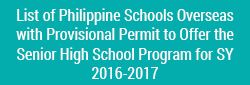 List of Philippine Schools Overseas with Provisional Permit to
