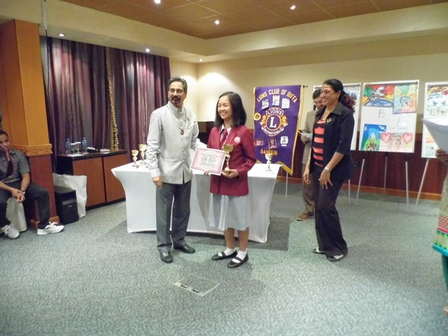 Luwi Ouano as winner in the Lions Club Essay Writing Student of the Month High School