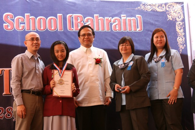 Luwi Ouano during the Grade 7 Recognition Program with H.E. Ambassador Shaid S. Glang Student of the Month High School